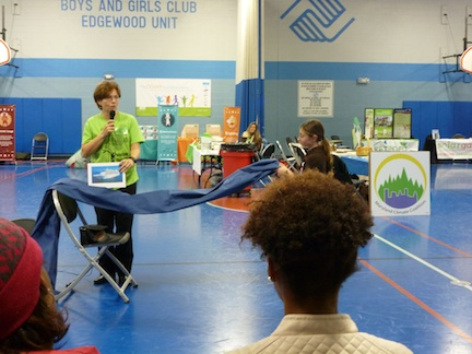 Tracey illustrates the urgency of the climate crisis at the Harford County Climate Expo, Edgewood Boys and Girls Club